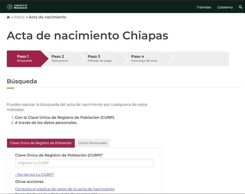 Acta de nacimiento Chiapas