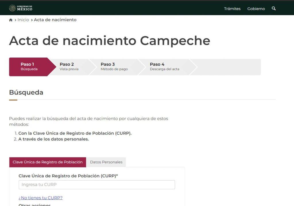 Imprimir acta de nacimiento Campeche