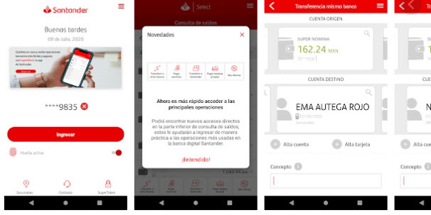 Consulta Saldo Santander con SuperMóvil