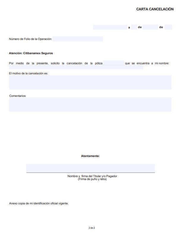 Carta cancelación de Seguro Banamex