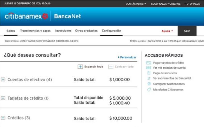 Cómo consultar saldo Banamex