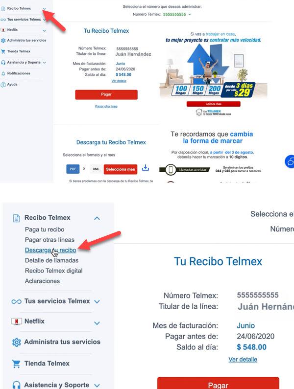 Cómo descargar un recibo telmex por internet
